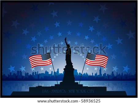 Statue of liberty new york city background - stock vector