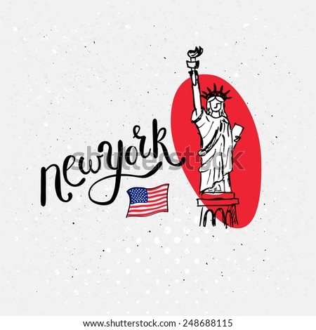Statue of Liberty, New York hand-drawn vector design for a card, souvenir or template for travel publicity, on a textured white background - stock vector