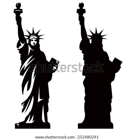 Statue of Liberty. New York landmark. American symbol. Vector silhouette - stock vector