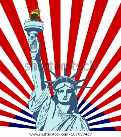Statue of Liberty. New York landmark and symbol of Freedom and Democracy. - stock vector