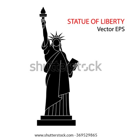 Statue of liberty, New York. Vector illustration isolated  on white background.