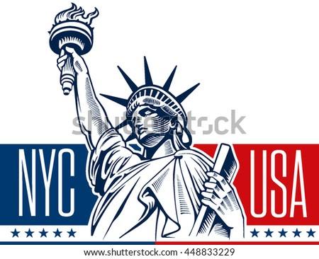 statue of liberty, NYC, USA symbol - stock vector