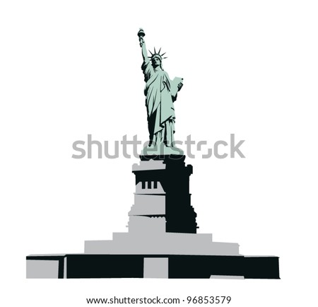 Statue of Liberty on the monument - stock vector