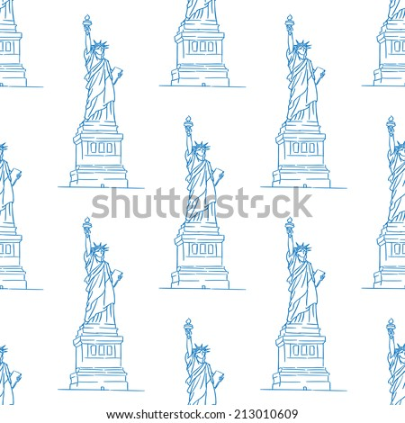 Statue of Liberty seamless pattern in outline style for travel, wallpaper, background and fabric design - stock vector