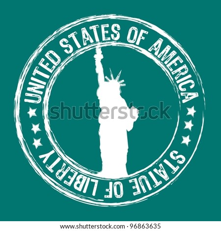 statue of liberty stamp isolated over aquamarine background. vector