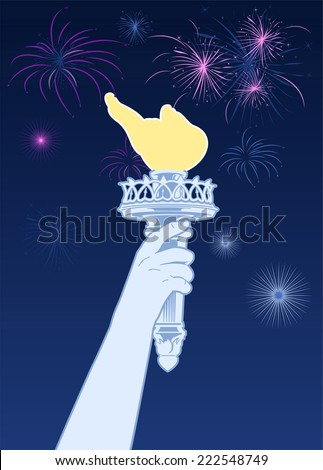 Statue of Liberty torch with celebration fireworks - stock vector