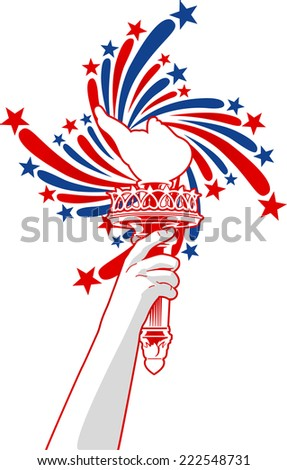 Statue of Liberty torch with stars background - stock vector