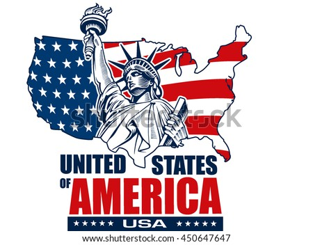 Statue Liberty Usamap Flag Symbol Stock Vector 450647647