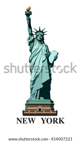 Statue of Liberty USA. New York landmark. The bronze sculpture. Green logo on a white background. American symbol. Vector illustration EPS 10