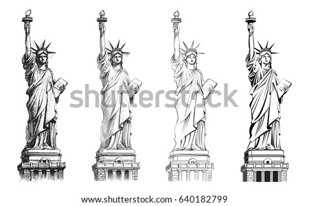 Statue of liberty stock images royalty free images for Statue of liberty drawing template