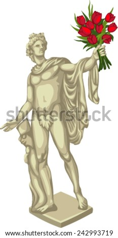 statue with flowers - stock vector