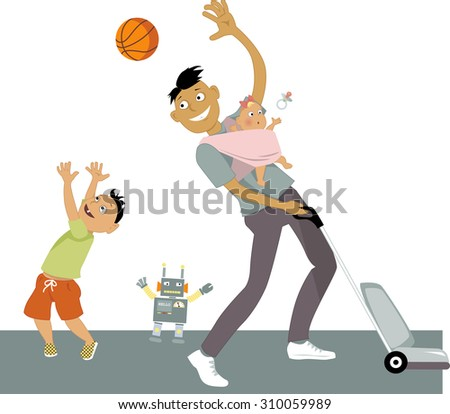 Stay at home dad with a baby in a sling, vacuuming and playing ball with his son, vector cartoon, no transparencies, EPS 8 - stock vector