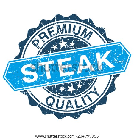 Steak grungy stamp isolated on white background - stock vector