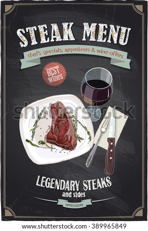 Steak menu chalkboard design with hand drawn illustration of a fillet mignon steak on a plate with glass of wine and cutlery - stock vector