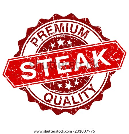 Steak red vintage stamp isolated on white background - stock vector