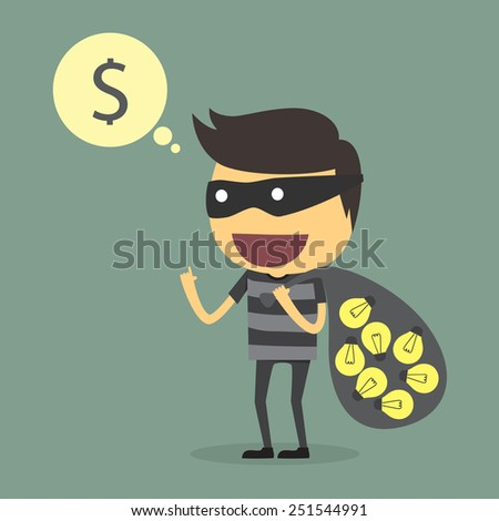 steal the idea - stock vector