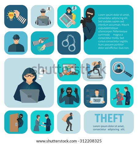 Stealing and theft icons set with robbery and pickpocket flat isolated vector illustration  - stock vector
