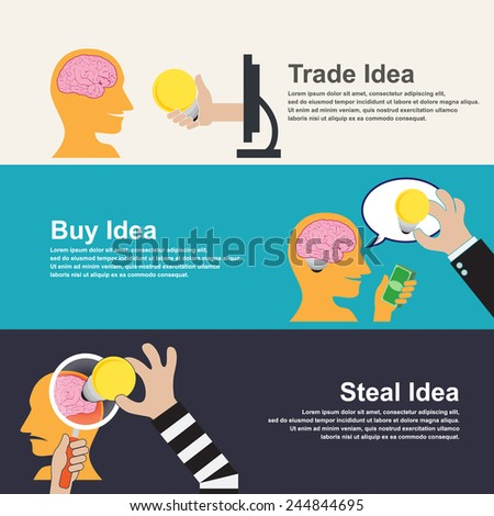 Stealing Idea. Buy Idea. Trade Idea. idea concept.vector illustration - stock vector