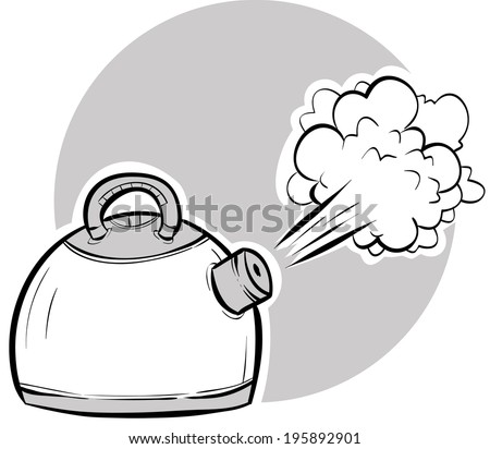 Steam blasting from a boiling, cartoon kettle. - stock vector