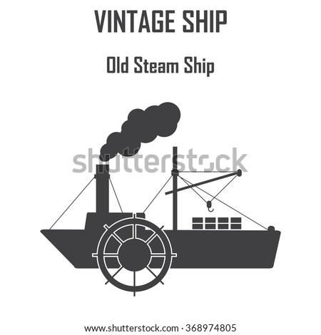 steam boat, ship vector icon. - stock vector