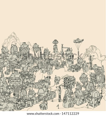 Steam city landscape. - stock vector