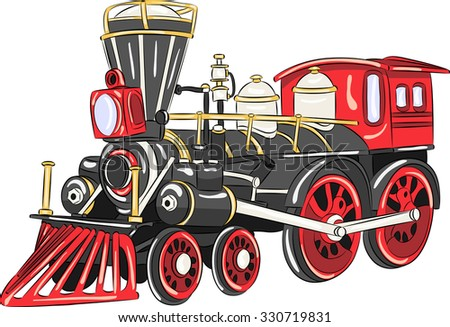Steam locomotive of black color with red wheels.