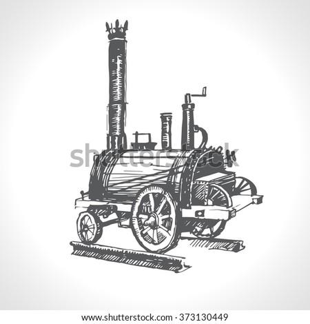 Steam Locomotive, vintage engraved illustration - stock vector