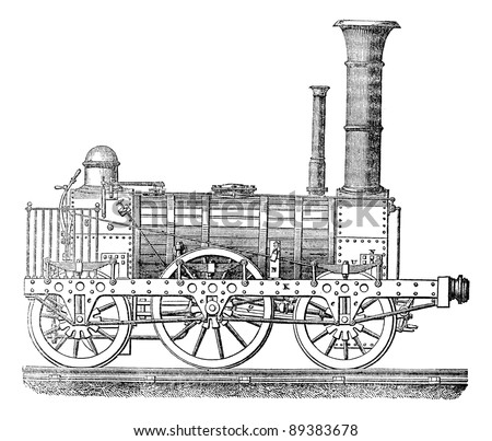 Steam locomotive, vintage engraved illustration. Industrial encyclopedia E.-O. Lami - 1875. - stock vector