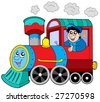 Steam locomotive with engine driver - vector illustration. - stock vector