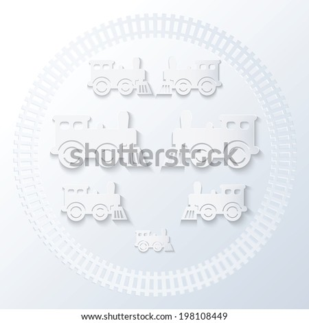 Steam locomotives inside of railway circle. Monochrome illustration. - stock vector