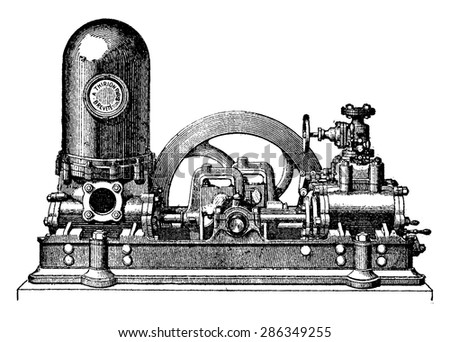 Steam pump has two cylinders direct action coupled, M. Thirion, vintage engraved illustration. Industrial encyclopedia E.-O. Lami - 1875. - stock vector