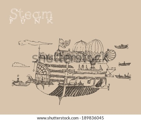steam punk airship (flying ship) engraving style, hand drawn - stock vector