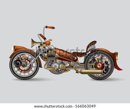 Steam-punk bike - stock vector