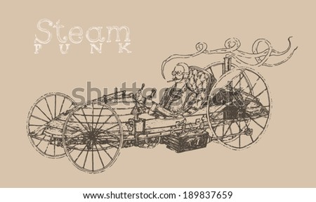 Steam punk car engraving style, hand drawn - stock vector