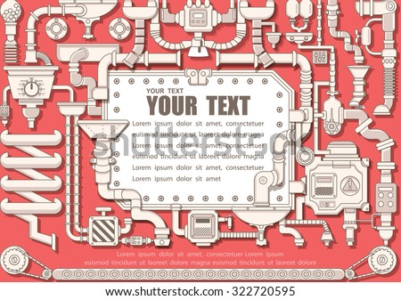Steam punk frame with industrial machines gears chains and technical elements, illustrator Vector