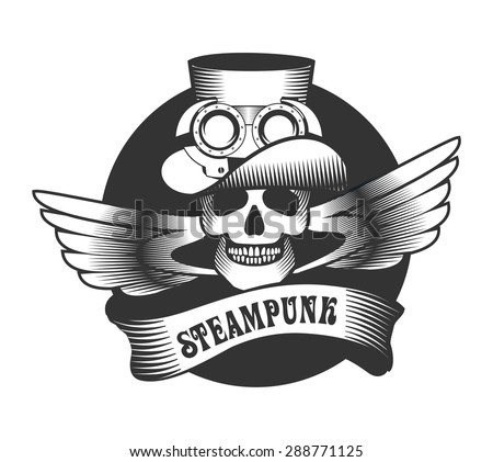 Steam punk illustration of a human skull in a hat with mechanism details on a white background - stock vector