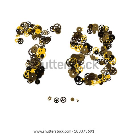 Steam punk mechanical digits made of gears and screws. 7, 8 - stock vector
