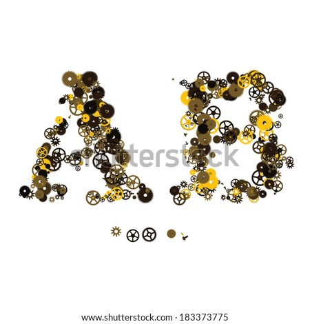 Steam punk mechanical letters made of gears and screws. A, B