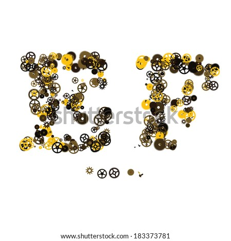 Steam punk mechanical letters made of gears and screws. E, F - stock vector