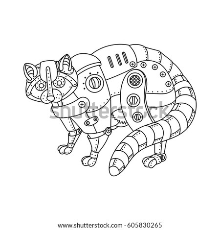 Free Mechanical Animal Coloring Book Vector With Books