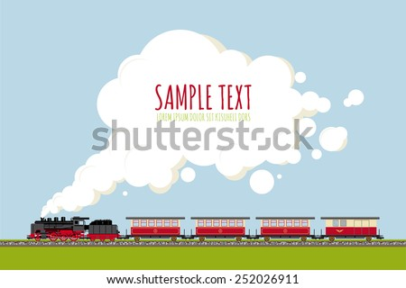 Steam Train in Landscape with copy space template. Historic locomotive and wagons on railroad track, copy space in steam, flat design, no gradients or transparencies. Sample text on separate layer. - stock vector