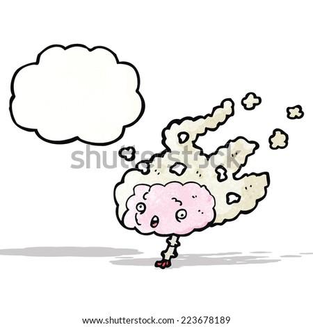 steaming brain cartoon - stock vector