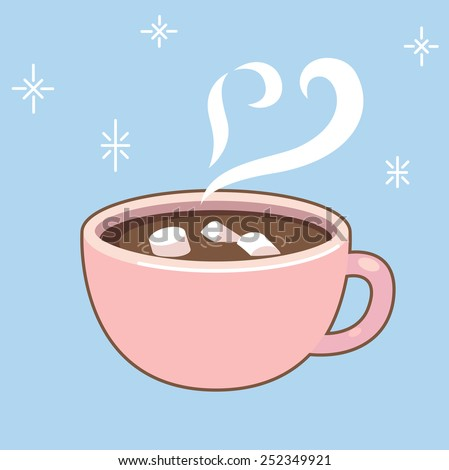 hot chocolate mug clipart. steaming cup of delicious hot chocolate with marshmallows mug clipart