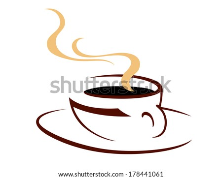 Steaming hot cup of aromatic coffee, doodle sketch icon logo in shades of brown on white for fast food design - stock vector