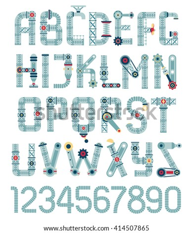 Steampunk alphabet. Letters from spare parts, equipment, pipes. - stock vector