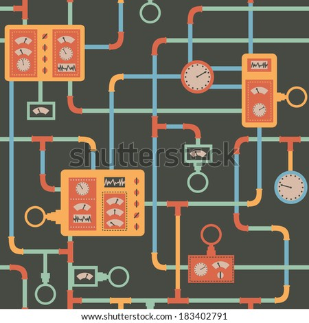 Steampunk background. Industrial seamless pattern. Vector Illustration.  - stock vector