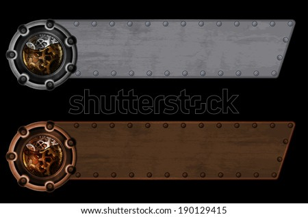 Steampunk banner template - stock vector
