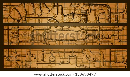 steampunk banners - stock vector