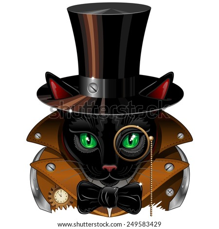 Steampunk Black Cat Portrait  - stock vector