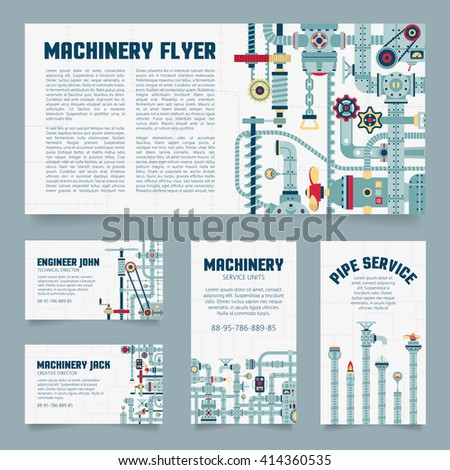 Steampunk business card. Mechanical, engineering flayers template. - stock vector